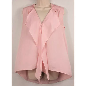 Gianni Bini Pink Button Front High Low Lapel Front